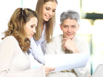 Group of businessmen discussing the results the work Royalty Free Stock Photo