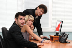 Group of businessmen in an off Stock Photo