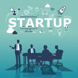 A group of businessmen plans for successful startup.  Stock Images