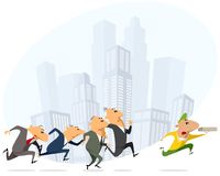 Businessmen running for pizza courier. Group of businessmen running for a pizza courier stock illustration