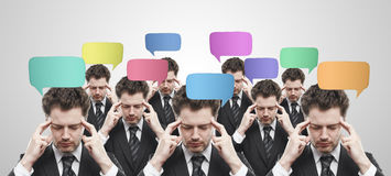 Group of businessmen with social chat sign Stock Photos