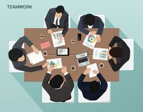 Group of businessmen working at the table Top view. Business meeting of businessmen at an office desk Top view vector illustration
