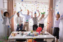 Group Of Businesspeople Celebrating In Office stock image