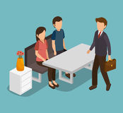 Group of businesspeople gathered Stock Photo