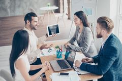 Group of businesspeople having a meeting. Businessman making a p royalty free stock photos