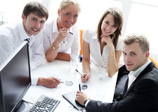 Group of businesspeople on meeting. In the office royalty free stock images