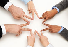 Group of businesspeople showing v-sign Stock Photography