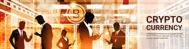 Group Of Businesspeople Silhouettes Bitcoin Crypto Currency Concept Digital Web Money Technology Horizontal Banner. Vector Illustration royalty free illustration