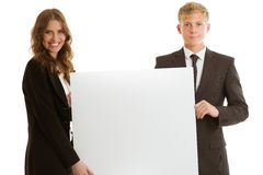 Group of businesspersons holding blank banner Stock Photos