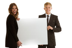 Group of businesspersons holding blank banner Royalty Free Stock Photo