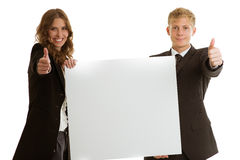 Group of businesspersons holding blank banner Stock Image