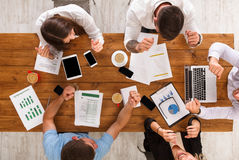 Group of busy business people working in office, top view stock images