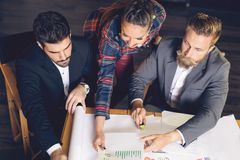 Group of busy business people working in office, top view Royalty Free Stock Photo