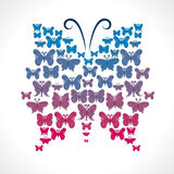 Group of butterfly make big butterfly shape.  Royalty Free Stock Images