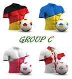 Group C European Football 2016. Three dimensional render of a torso and ball depicting the four teams in group C Royalty Free Stock Photo