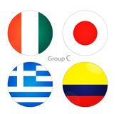 Group C- Ivory Coast, Japan, Greece, Colombia. Group C - Ivory Coast, Japan, Greece, Colombia at world cup 2014 vector illustration