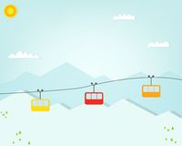 Group of cable car cabins in mountains Stock Photo