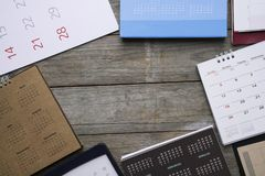 Group of calendar on the table Royalty Free Stock Photo