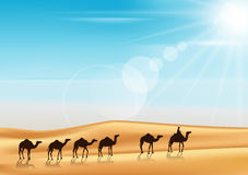 Group of Camels Caravan Riding. In Realistic Wide Desert Sands in Middle East with a Beautiful Sunlight in Horizon. Editable Vector Illustration Royalty Free Stock Photos