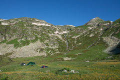 Group of camping tents in mountain wally. Stock Images