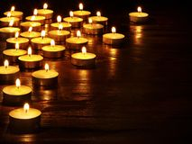 Group of  candles on  black background. Stock Images