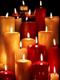 Group of  candles on  black background. Stock Photography