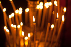 Group of candles in church Royalty Free Stock Image