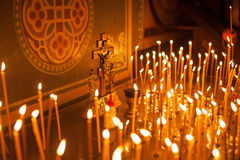 Group of candles in church Stock Image