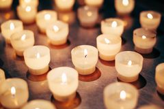 Group Of Candles In Church. Candles Light Royalty Free Stock Photography