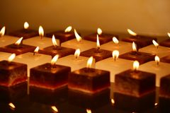 Group of candles low key Stock Photos
