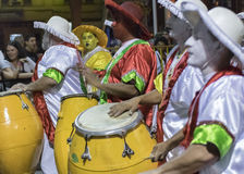 Group of Candombe Drummers at Carnival Parade of Uruguay Stock Photography
