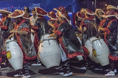 Group of Candombe Drummers at Carnival Parade of Uruguay Stock Images