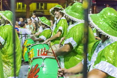 Group of Candombe Drummers at Carnival Parade of Uruguay Stock Photos