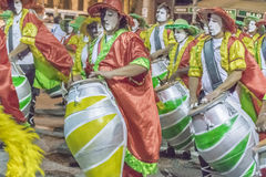 Group of Candombe Drummers at Carnival Parade of Uruguay Royalty Free Stock Images