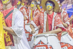 Group of Candombe Drummers at Carnival Parade of Uruguay Royalty Free Stock Image