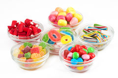 Group of candy in glass bowls Royalty Free Stock Photo