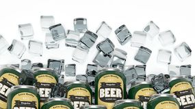 Group of cans with beer in ice cubes Stock Photography