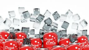 Group of cans with cola in ice cubes Royalty Free Stock Image