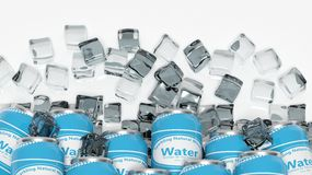 Group of cans with water in ice Royalty Free Stock Photo