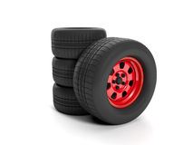 group of car wheels Royalty Free Stock Photo