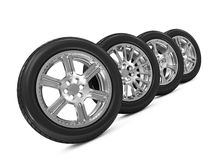 Group of Car Wheels Royalty Free Stock Photos