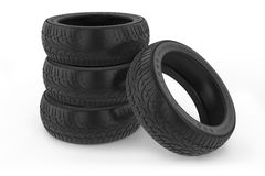 Group of car winter tires. Stock Photo