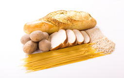 Group of Carbohydrates. For diet, bread, rice, oat, potatoes, pasta on wood table for diet, bread, rice, oat, potatoes, pasta on white background stock photos