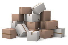 Group of cardboard boxes. Royalty Free Stock Photo
