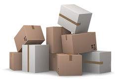 Group of cardboard boxes. Stock Photos