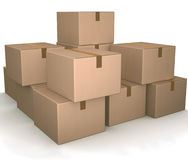 Group of cardboard boxes. Royalty Free Stock Image