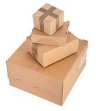 Group of cardboard boxes on white Royalty Free Stock Photos
