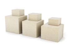 Group of cardboard boxes  on white background. 3d render Royalty Free Stock Photos