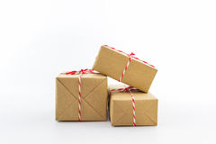 Group of Cardboard carton wrapped with brown paper. Stock Images