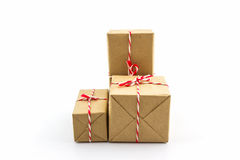 Group of Cardboard carton wrapped , tied with string. Royalty Free Stock Photography